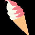 ストロベリーのソフトクリームのイラスト