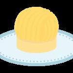黄色いモンブラン(ケーキ)のイラスト