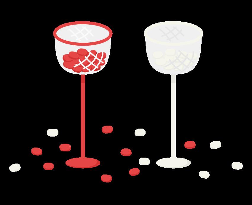 運動会・紅白の玉入れのイラスト