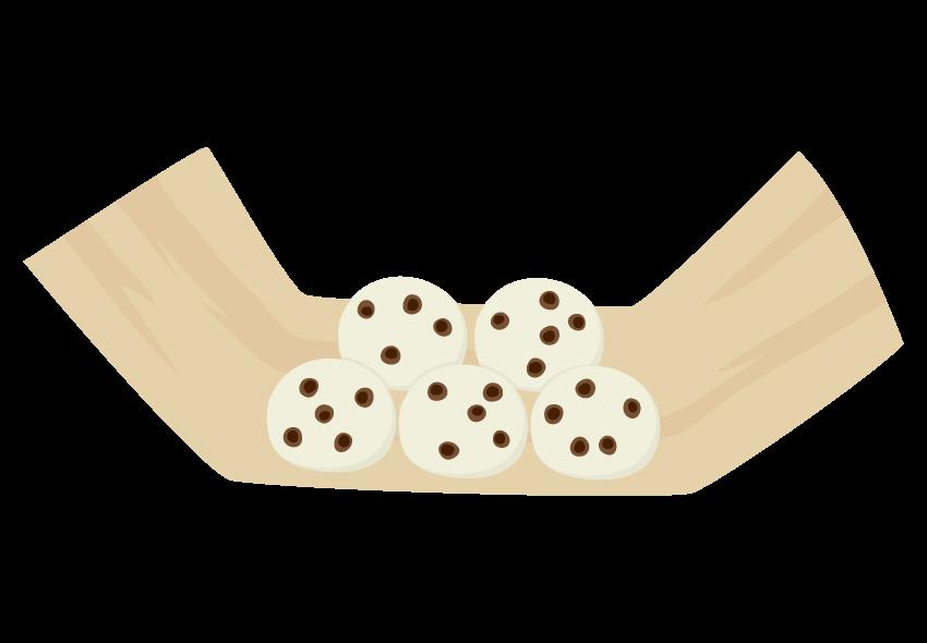 たくさんの豆大福のイラスト