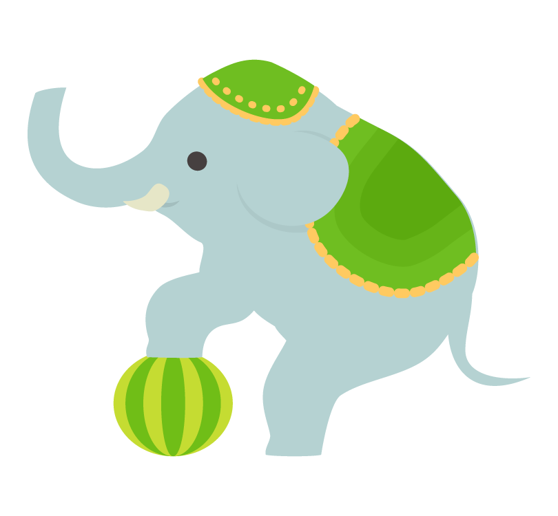 サーカス・ボールで芸をする象のイラスト