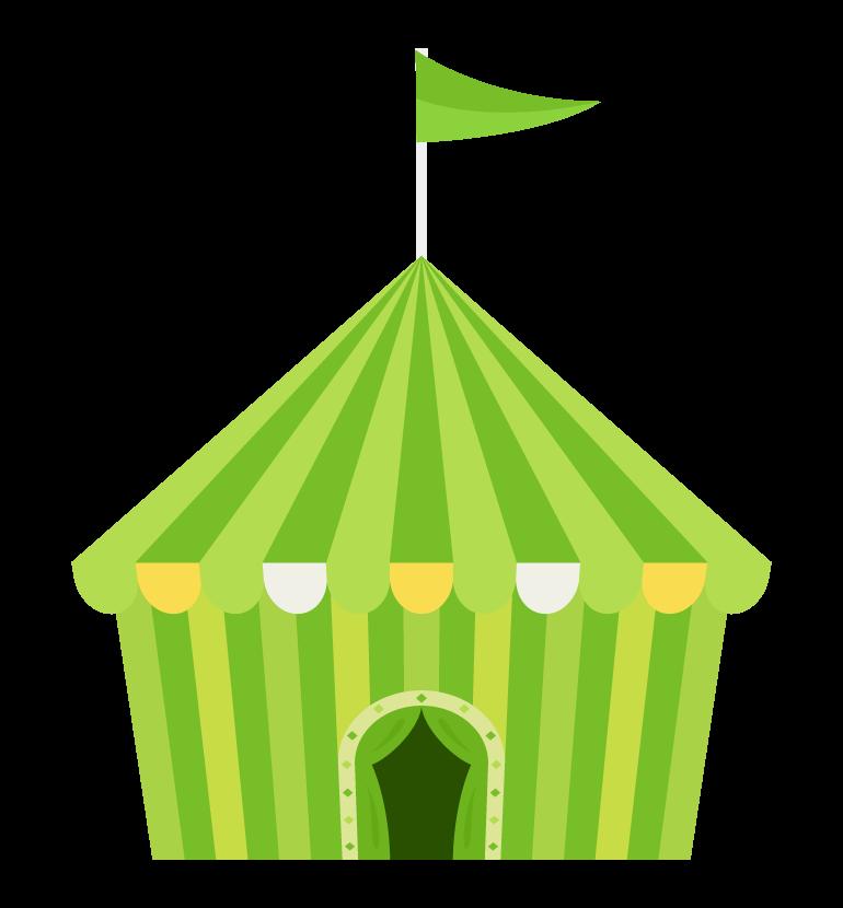 サーカスのテント(緑色)のイラスト