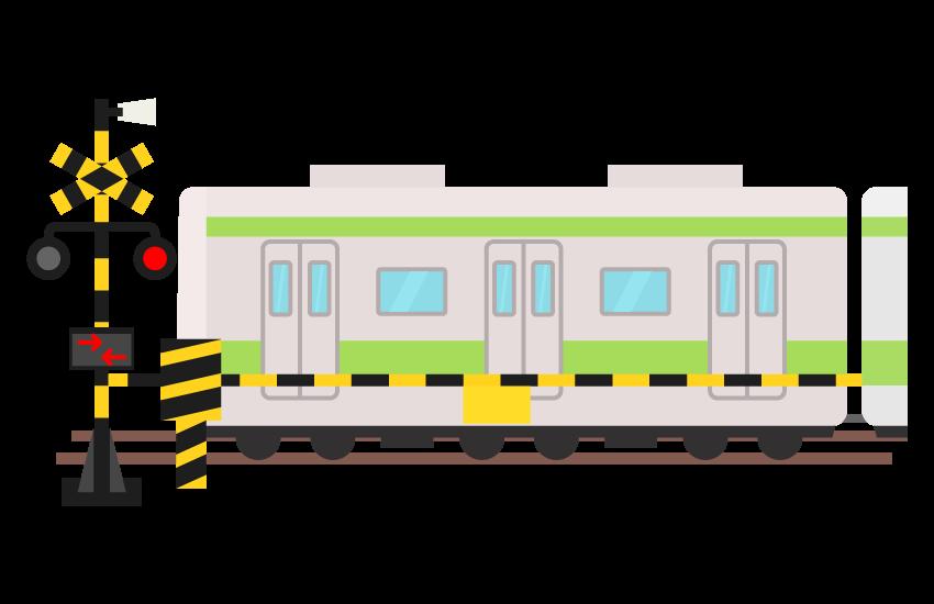 踏み切りと電車のイラスト
