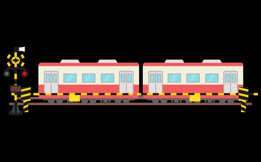 踏み切りを通過する電車のイラスト