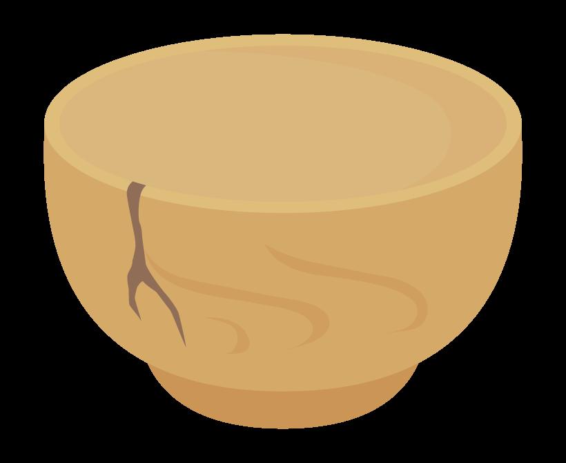 ひび割れた茶碗のイラスト