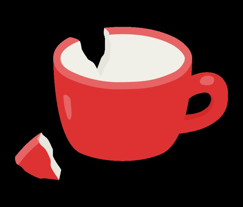 ひび割れたカップのイラスト
