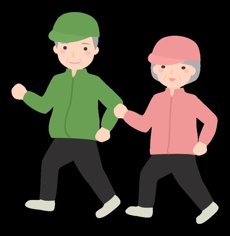 年配者のジョギングのイラスト