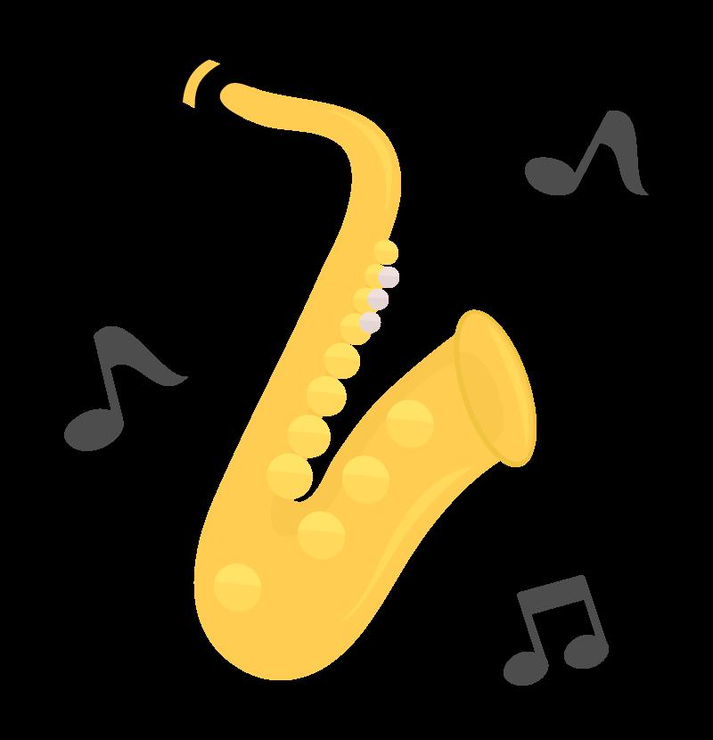 サックスと音符のイラスト