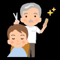 髪をカットしている理容師のイラスト