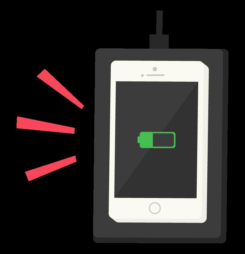 スマホのワイヤレス(置くだけ)充電のイラスト