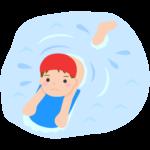 ビート板を使って泳ぐ子どものイラスト