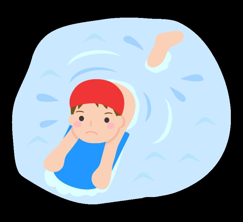 ビート板を使って泳ぐ子どものイラスト 無料のフリー素材 イラストエイト