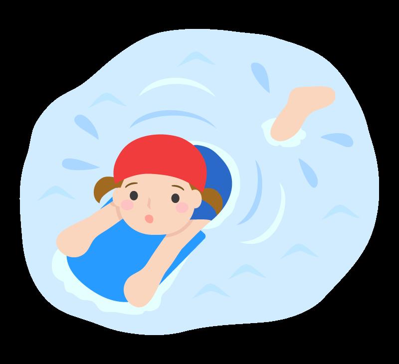 水泳の授業・ビート板を使って泳ぐ子どものイラスト