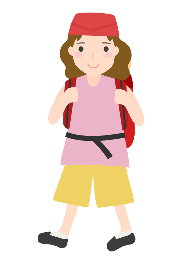 バックパッカー(女性)のイラスト