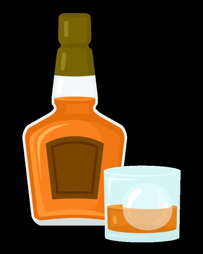 ウイスキーボトルとグラスのイラスト