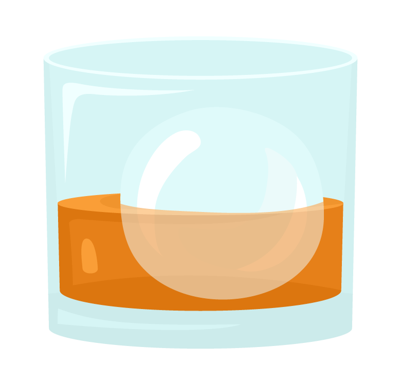丸い氷のウイスキー・ロックのイラスト