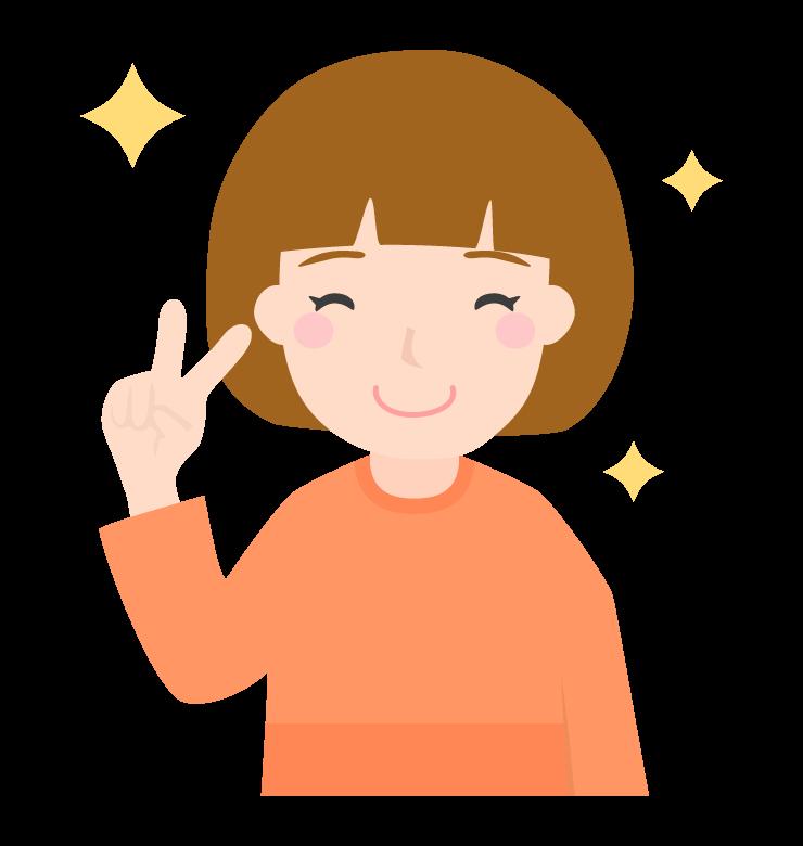 笑顔でピースをして喜ぶのイラスト(女性)
