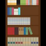 本がたくさんある本棚のイラスト
