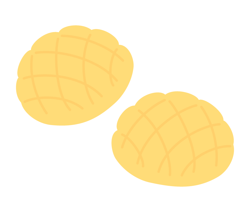 メロンパン(2個)のイラスト