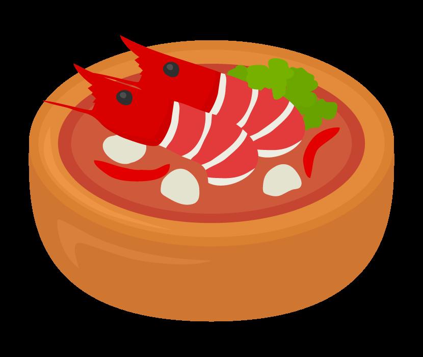 海老が丸ごと入ったトムヤムクンのイラスト