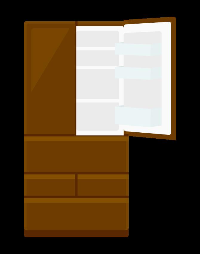 大型冷蔵庫(扉を開いた状態)のイラスト