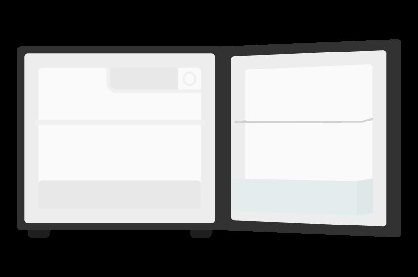 小型の冷蔵庫(扉を開いた状態)のイラスト
