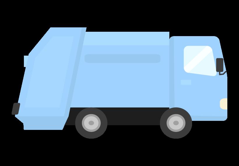 ゴミ収集車(横アングル)のイラスト