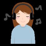 ヘッドフォンで音楽を聴いている女性のイラスト