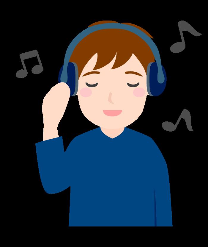 ヘッドフォンで音楽を聴いている男性のイラスト