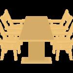木のダイニングテーブルとイスのイラスト