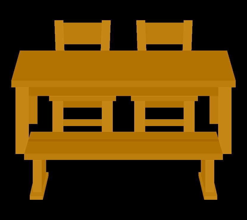 木のダイニングテーブルとイスのイラスト02