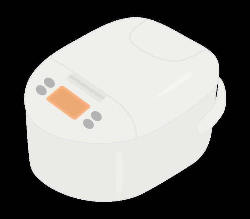 白い炊飯器のイラスト