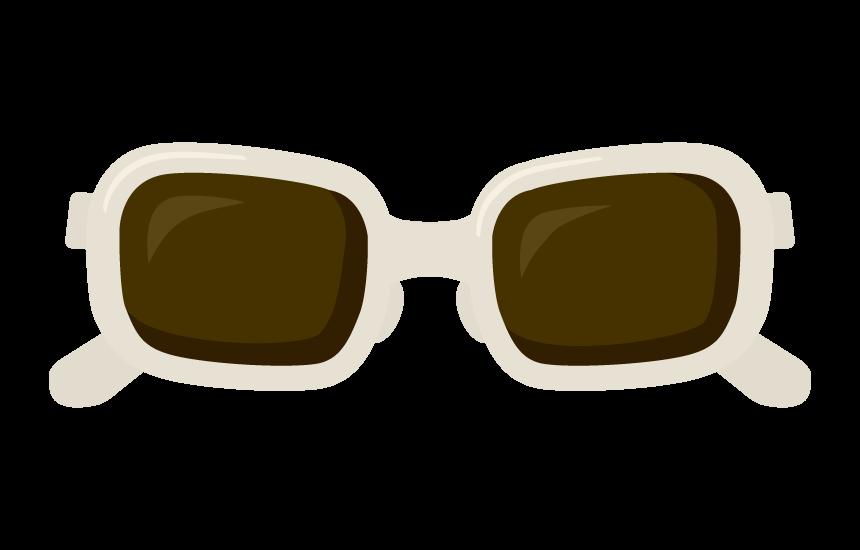 白い縁のサングラスのイラスト