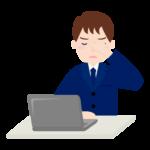 PC作業で目が疲れているサラリーマンのイラスト