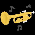 トランペットと音符のイラスト