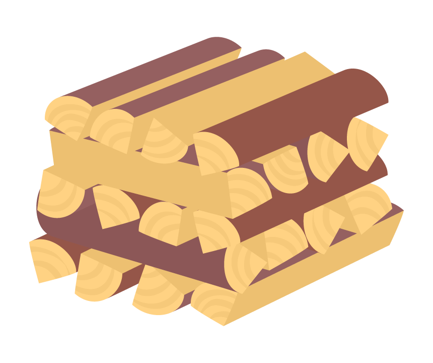 積みあがった薪のイラスト