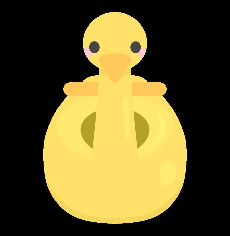 かわいい黄色いアヒルのおまるのイラスト
