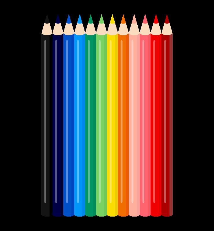 色鉛筆のセットのイラスト