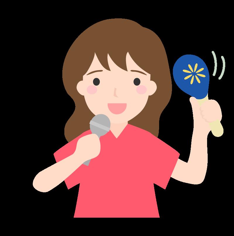 カラオケで楽しそうに歌う女性のイラスト