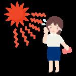猛暑日に外回りをする女性会社員のイラスト