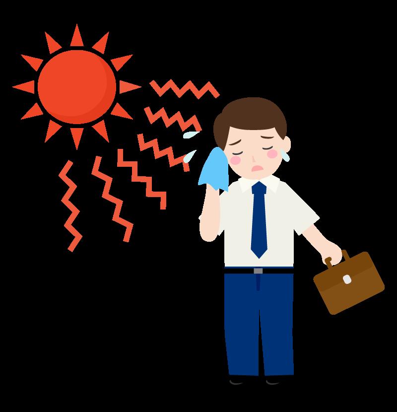 猛暑日に外回りをするサラリーマンのイラスト