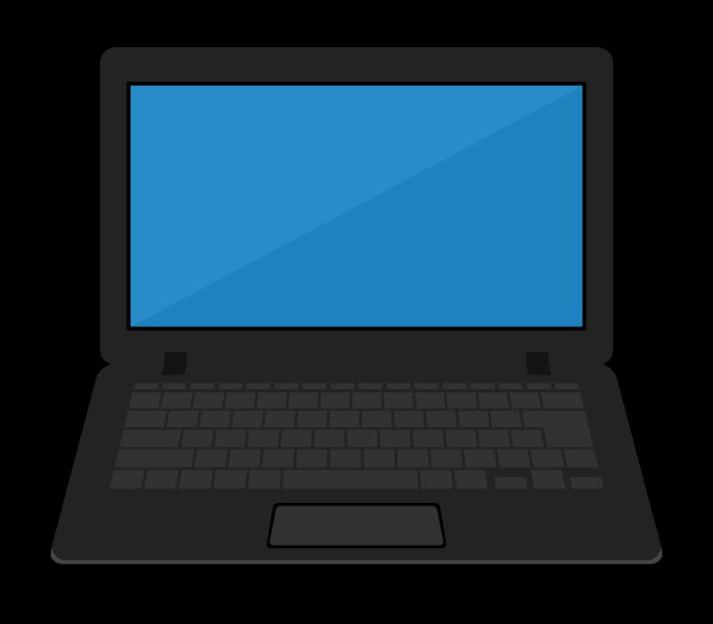 ノートパソコン(ブラック)のイラスト