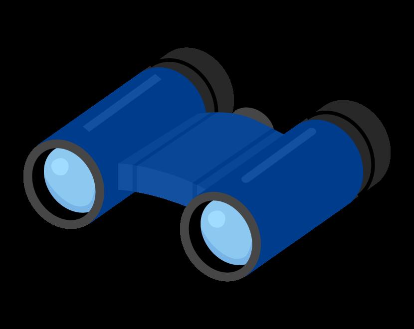 青色の双眼鏡のイラスト