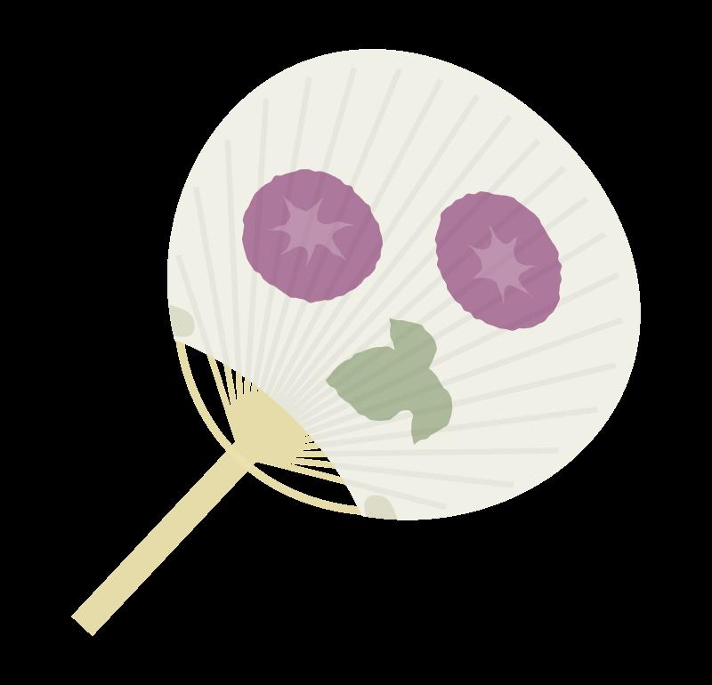 朝顔の団扇(うちわ)のイラスト