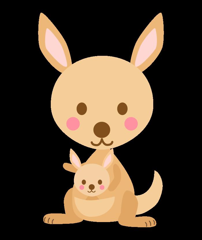 かわいいカンガルーの親子のイラスト