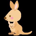 かわいいカンガルーの親子のイラスト02