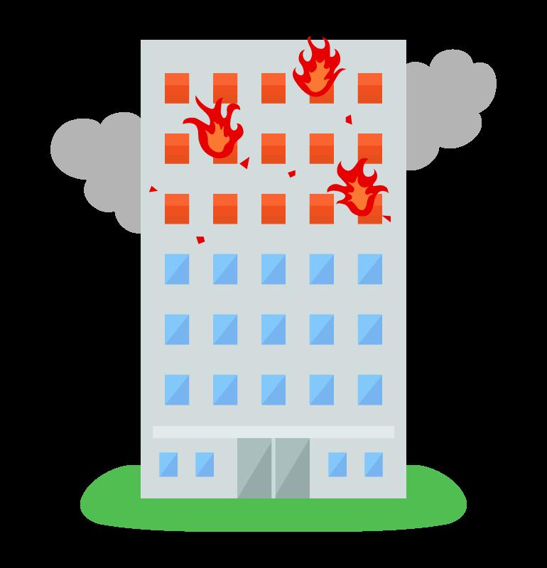 ビル火災のイラスト