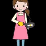 料理をしている主婦のイラスト