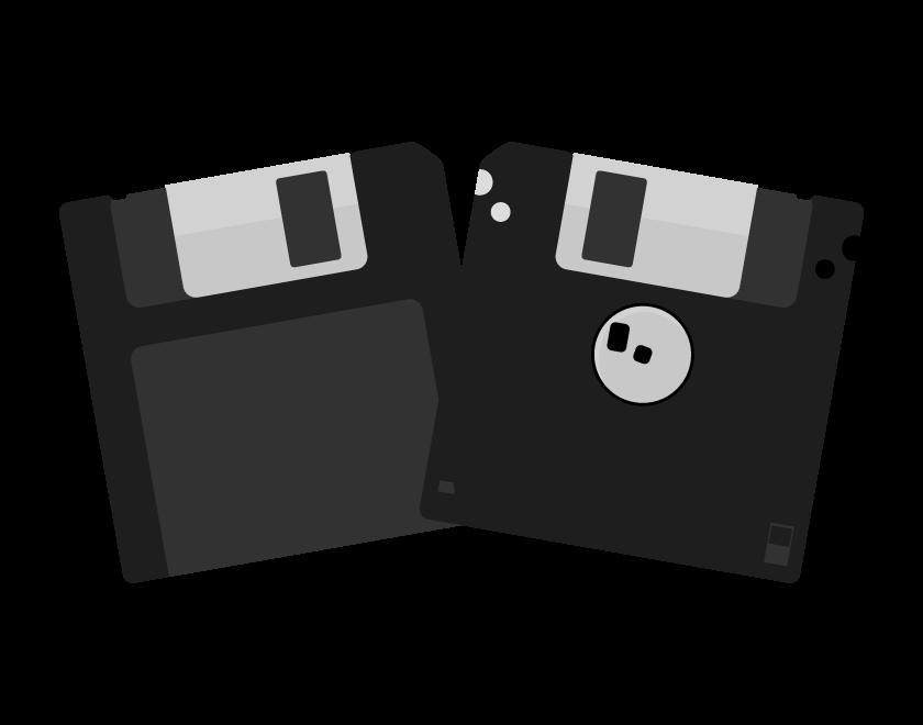 フロッピーディスク(2枚)のイラスト