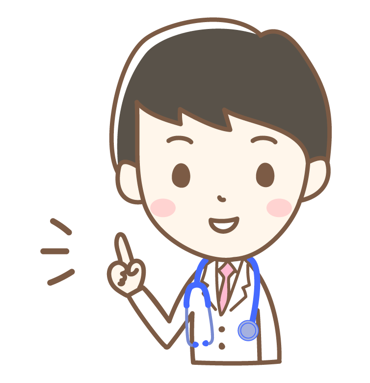 指差し・ワンポイントアドバイスをするお医者さんのイラスト